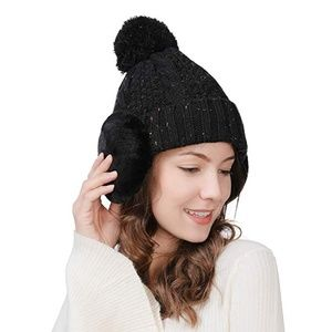 Accessories - *4/$12* NWT!  Pom Beanie Winter Hat with Ear Muffs